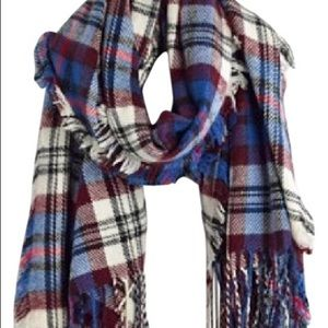 Madewell blue/red/maroon/white plaid scarf